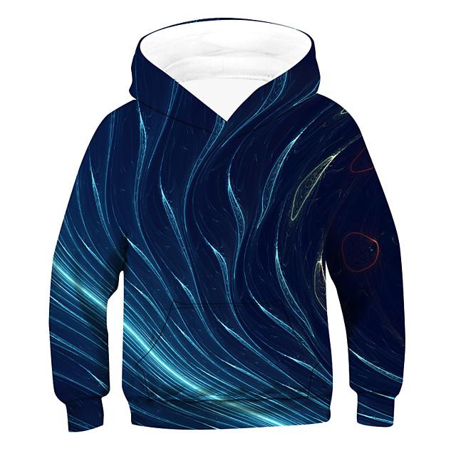 Kinderen Jongens Hoodie & Sweatshirt 3D Trekkoord Lange mouw Actief Basic blauw