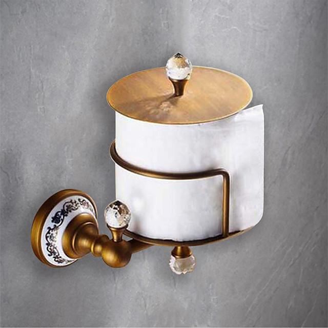 porte-papier toilette amovible ancien porte-papier en céramique / cristal en laiton mat 1pc