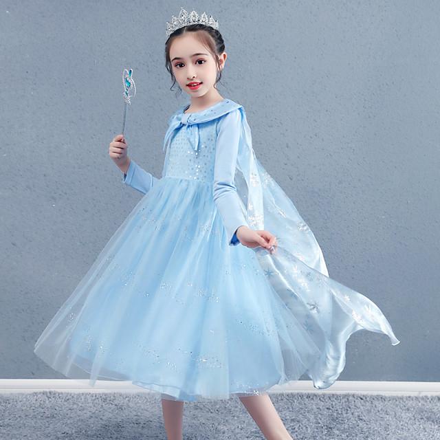 Princesa Fantasias de Cosplay Baile de Máscara Para Meninas Cosplay de Filmes Slip Linha-A Férias Azul Vestido Xale Dia Das Bruxas Dia da Criança Baile de Máscaras Organza Algodão