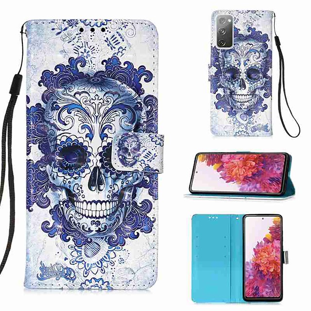 Maska Pentru Samsung Galaxy S20 Plus / S20 Ultra / S20 Portofel / Titluar Card / Cu Stand Carcasă Telefon Cranii PU piele