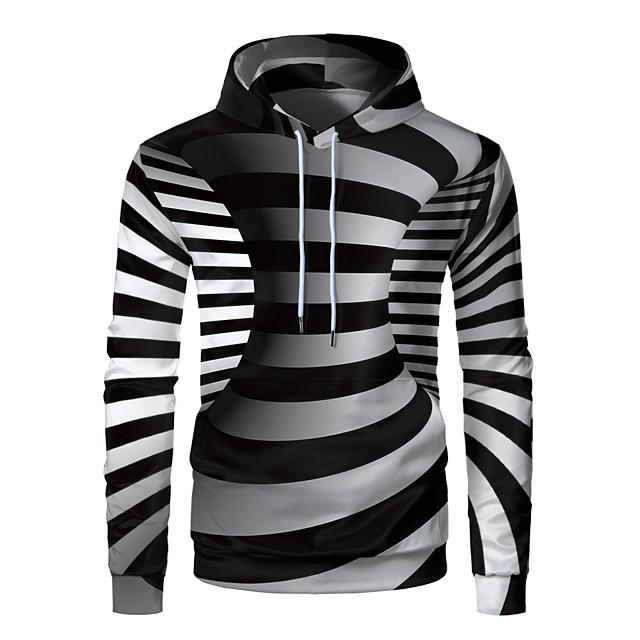 Voor heren Trui met capuchon Grafisch 3D Voorvak Dagelijks Weekend 3D-afdrukken 3D-print Hoodies Sweatshirts Zwart