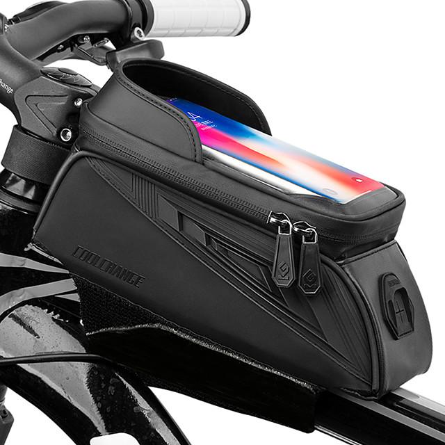 CoolChange Waterproof Bag Cell Phone Marsupio triangolare da telaio bici Schermo touch Anti-pioggia Ciclismo Borsa da bici TPU Oxford EVA Marsupio da bici Borsa da bici Zero