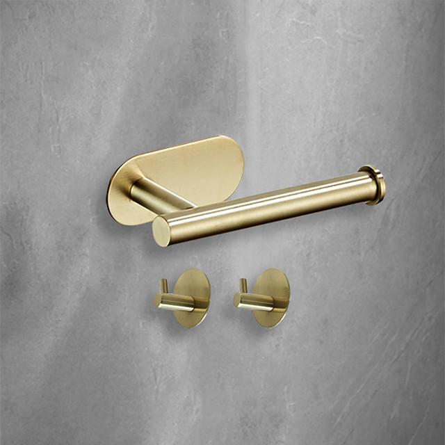 3 pezzi di hardware per il bagno set 3m adesivo a forte viscosità accessori per il bagno montaggio a parete gancio per asciugamani porta fazzoletti ad alta resistenza senza unghie in acciaio inossidabile nero opaco spazzolato oro