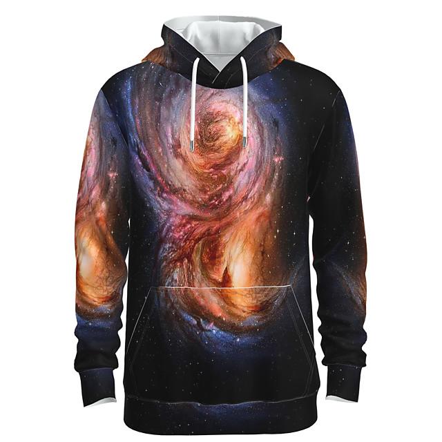 Voor heren Dagelijks Sweatshirt met capuchon Heelal 3D Grafisch Voorvak Capuchon 3D-print Informeel Hoodies Sweatshirts Lange mouw Oranje