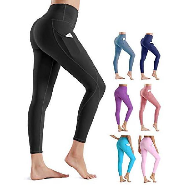yoga broek butt lifting leggings dames met zakken elastische broek hoge taille gevoerde dameslegging stretchbroek (56026 kleur blauw, xs)