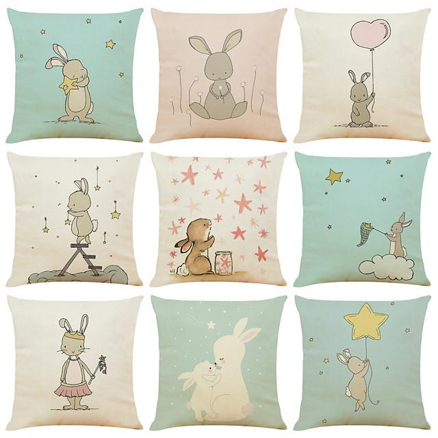 set van 9 schattige konijn linnen vierkante decoratieve sierkussen gevallen sofa kussenhoezen 18x18