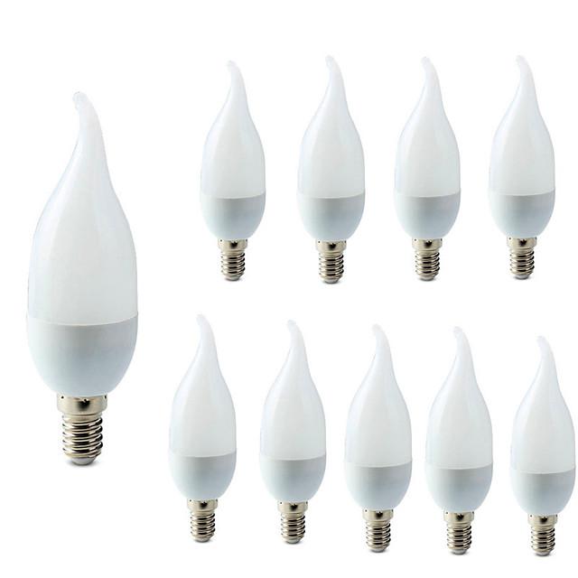 10 pcs E14 LED Ampoule De Bougie LED Lumière Lustre Lampe Bougie Ampoules 3 W Lampes Décoration Lumière Chaud Cool Blanc Économie D'énergie