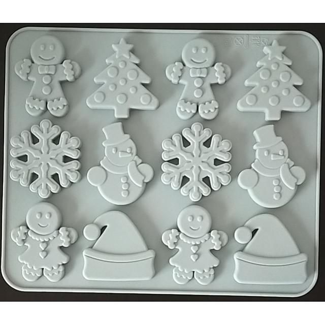 رجل الزنجبيل ندفة الثلج عيد الميلاد عيد الميلاد الشوكولاته قالب من السيليكون البسكويت الحلوى المكملات الغذائية قالب كعكة السكر البني