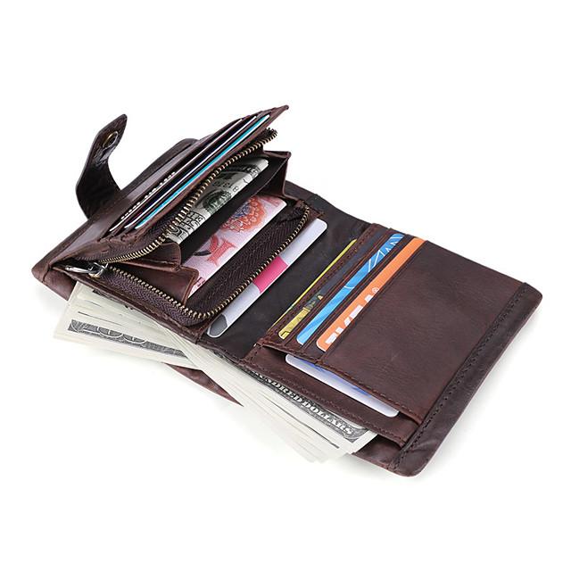 Cestovní peněženka Organizátor dokumentů Pouzdro na karty Zajištěné proti ukradení Blokování RFID Každodenní použití Bezpečnost Pravá kůže Klasický Retro Dárek Pro Pánské Dámské 11.5*9.5*2.5 cm