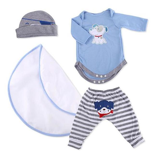 Reborn babypoppen kleding Reborn Doll-accessoires Stoffen voor 20-22 Inch Reborn Doll Exclusief Reborn Doll Zacht Puur handgemaakt Jongens 4 pcs
