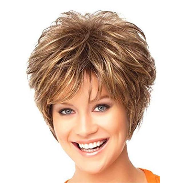 perruques pour femmes blanches perruque de cheveux bruns bouclés perruques synthétiques féminines perruque d'apparence naturelle