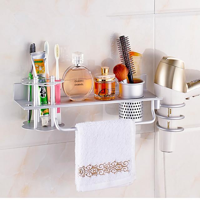 رف حمام متعدد الوظائف لمجفف الشعر ومشط ألومنيوم فضي ولون ذهبي - مثبت على الحائط لحمام المنزل والفندق