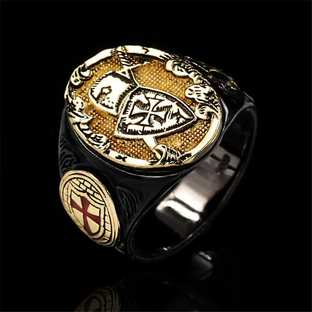 Inel Geometric Auriu Articole de ceramică Placat Auriu Σταυρός Vintage 1 buc 8 9 10 11 / Bărbați