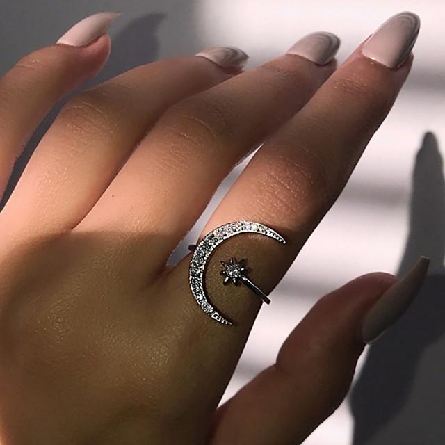 خاتم ذهبي فضي حجر الراين سبيكة MOON نجمة حلو موضة لطيف 1PC قابل للتعديل / نسائي / خاتم قابل للتعديل