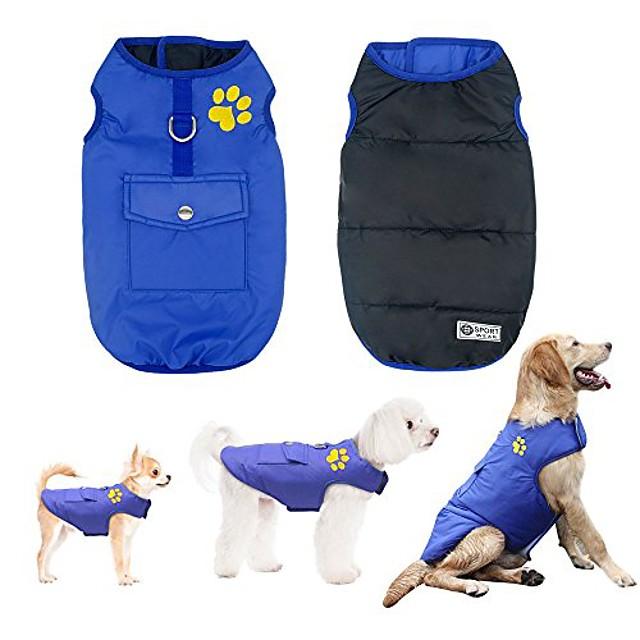 talven vedenpitävät koiraliivitakit, lämpimät käännettävät vaatteet pienille keskisuurille koirille, sininen, m koko