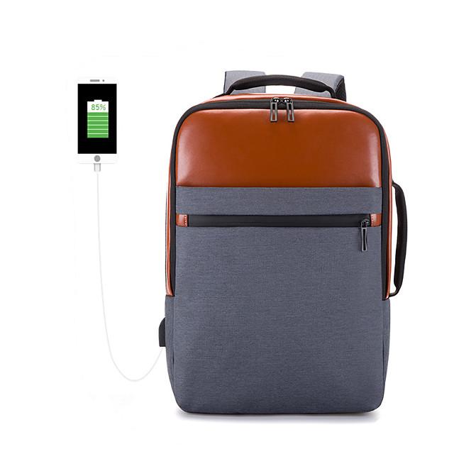 여행 가방 노트북 배낭 대학 책가방 대용량 방수 USB 충전 포트 포함 캐주얼 야외 여행 나일론 15.6 인치 노트북에 적합 선물 제품 남자와 여자 30*15*44 cm