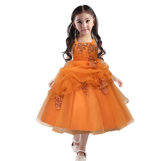 Prinsessa Mekot Juhla-asu Kukka tyttö mekko Tyttöjen Elokuva Cosplay Prinsessa Keltainen Leninki Lasten päivä Masquerade Polyesteri