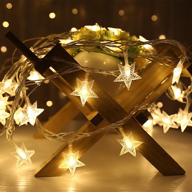 1.5m 3m led guirlande guirlande guirlande étoile lumière intérieure guirlande flexible scintillante guirlandes décor noël noël fête de vacances mariage blanc chaud éclairage aa batterie (livré sans
