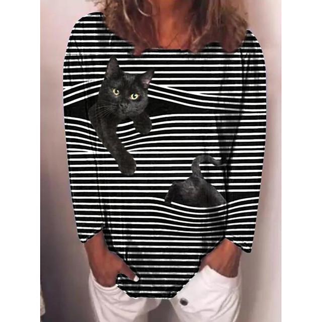 Dames T-shirt Gestreept Kat Lange mouw Opdruk Ronde hals Tops Basic Basis-top Zwart