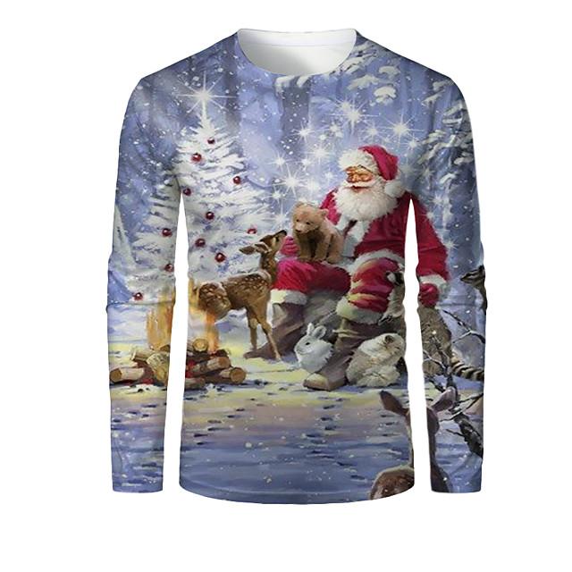 Per uomo Pop art 3D Animali maglietta Stampa 3D Con stampe Manica lunga Natale Top Rotonda Azzurro