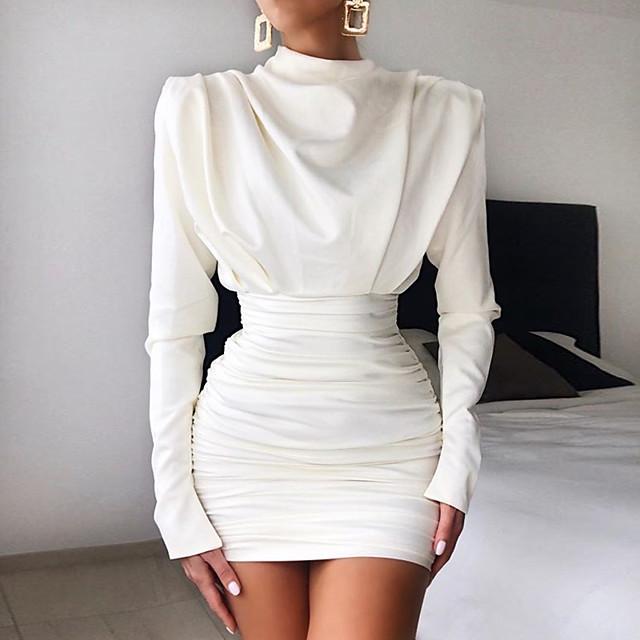 Women's Sheath Dress Short Mini Dress White 3/4 Length Sleeve Solid Color Patchwork Fall Winter Turtleneck Casual 2021 S M L XL