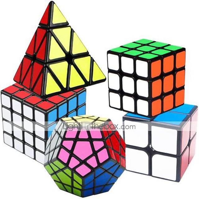 Ensemble de cubes de vitesse 5 pcs Cube magique Cube IQ 2*2*2 3*3*3 4*4*4 Pack Speedcubing Cube de puzzle 3D Anti-Stress Cube casse-tête Lisse Jouets de bureau Casse-tête Pyramide Megamix Enfant