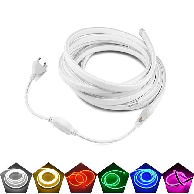 tube néon led étanche 20m 15m 10m 5m 3m 2m 1m ac 220v -240v smd 2835 bande de néon flexible couleur unique pour éclairage décoratif extérieur