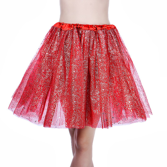 Ballet Dancer Petticoat Hoop Skirt Tutu Women's Movie Cosplay Vacation Classic Lolita RedYellow / Gray & Black / Black Skirts Halloween Carnival Masquerade Organza Cotton
