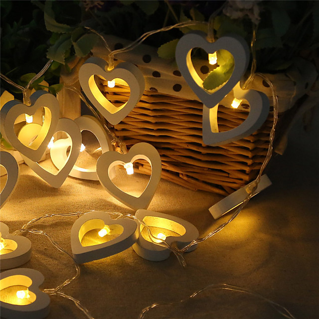 3m 20leds 1.5m 10leds hartvorm led-lichtslingers op batterijen geschikt voor kerstvakantie feest bruiloft sprookje verlichting levering zonder batterij
