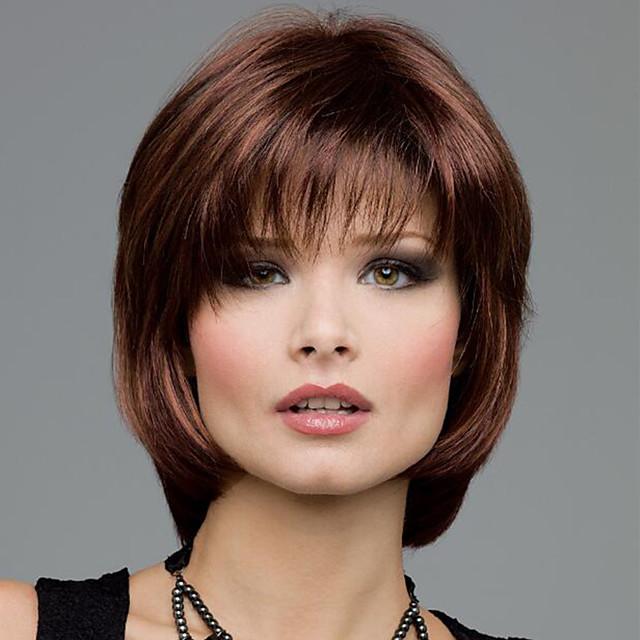 perruque synthétique droite bob perruque cheveux synthétiques bruns courts conception à la mode des femmes en surbrillance / balayage cheveux brun exquis