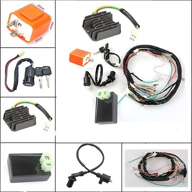 6 st / lot kick start starter cg125 wire vevstol sele cdi kill switch tändspole 4 ire likriktare set för honda 125cc motorcykel