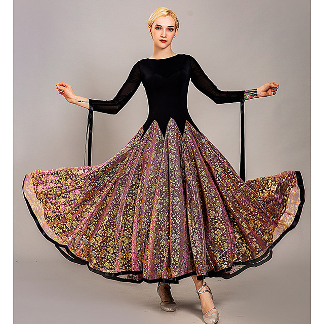 Femme Danseur Danse de Salon Costume de Soirée Cosplay Tenues de Danse Exotique Satin / Tulle Soie ice Violet Rose Claire Vert Robe