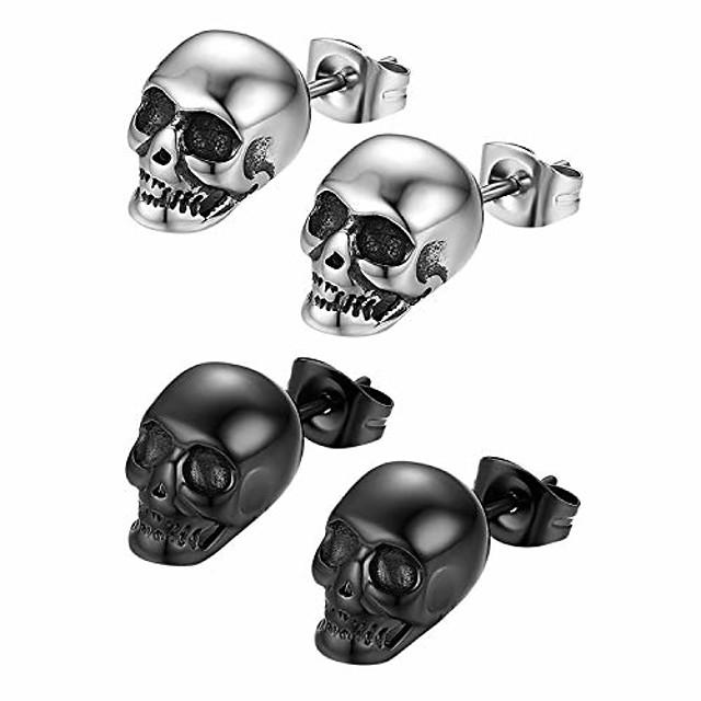 1-2 paires de boucles d'oreilles crâne gothique en acier inoxydable pour hommes femmes Halloween Cosplay, hypoallergénique, argent, noir (argent& noir)