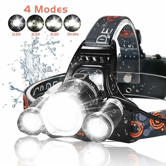 4 Lampes Frontales Torche Fonction Zoom Rechargeable 2500 lm LED 3 Émetteurs 4.0 Mode d'Eclairage avec Piles et Chargeur Fonction Zoom Rechargeable Ultra léger Jet pluie Camping / Randonnée