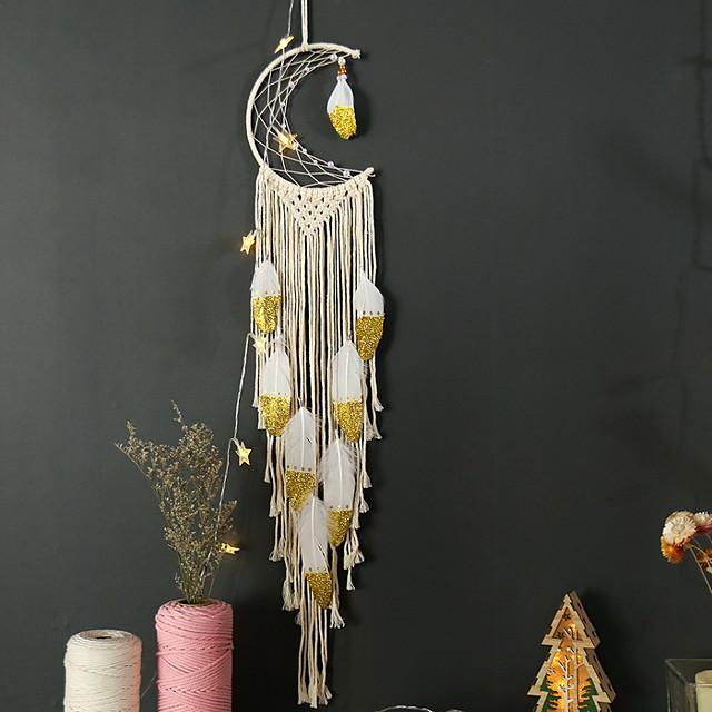 boho dromenvanger handgemaakte cadeau muur opknoping decor kunst ornament ambacht geweven macrame maan 100 * 20 cm voor kinderen slaapkamer bruiloft festival