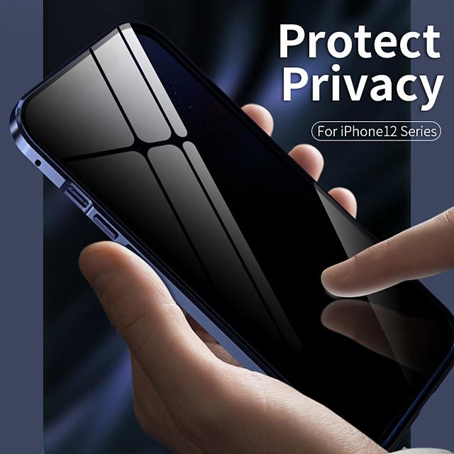 mágneses anti-peep tok Apple iphone 12 / iphone 12 mini / iphone 12 pro max ütésálló / átlátszó teljes test tokok átlátszó fém