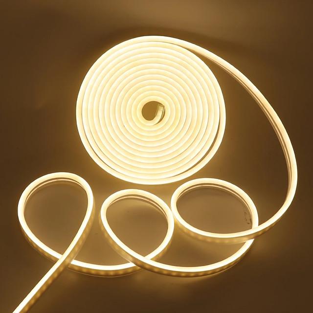 شريط نيون LED 2835 120LED لكل متر 5 متر 4 متر 3 متر 2 متر 1 متر 12 فولت أضواء حبل نيون من السيليكون ليد مرنة مقاومة للماء أضواء لعلامات ديكور داخلية خارجية ذاتية الصنع