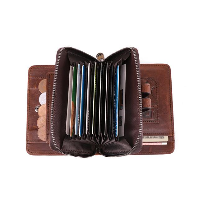 Cestovní peněženka Organizátor dokumentů Pouzdro na karty Zajištěné proti ukradení Blokování RFID Každodenní použití Bezpečnost Pravá kůže Klasický Retro Dárek Pro Pánské Dámské 12.5*9.5*3 cm