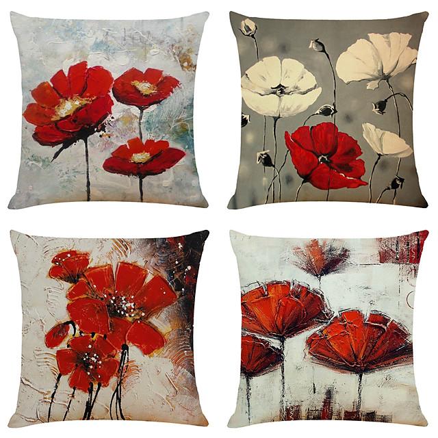 sada 4 uměleckých květin, plátěných čtvercových dekorativních polštářů, polštářů, potahů na polštáře na domácí pohovku, dekorativního venkovního polštáře na pohovku na gauči