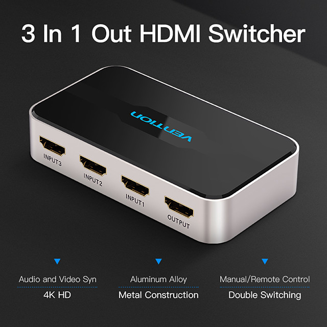 vention hdmi splitter adapter 3 i 1 ut hdmi switcher 3x1 for 360 ps4 / ps3 smart android hdtv 4k * 2k hd hdmi switch switcher