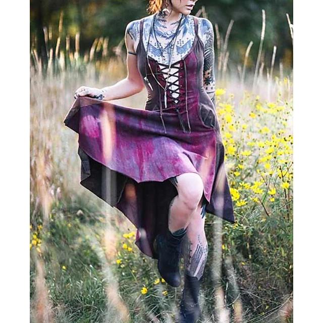 Lady Retro Vintage Gothic Kleid Maskerade Damen Kostüm Purpur Vintage Cosplay Party Halloween Ärmellos