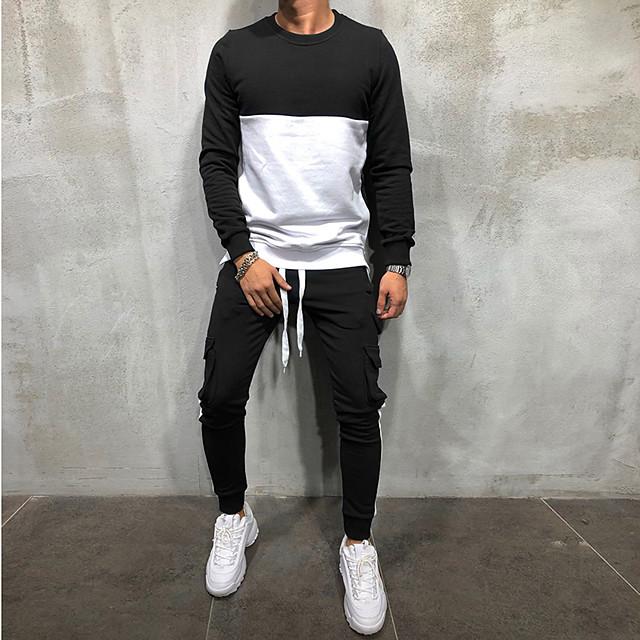 رجالي Activewear مجموعة ألوان متناوبة رقبة دائرية مناسب للخارج كاجوال هوديس بلوزات كم طويل أسود