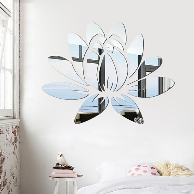 3d acryl spiegel lotusbloem muursticker muurtattoo moderne stickers muurschildering thuis slaapkamer tv achtergrond decoratie