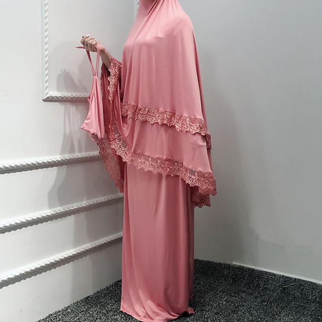 Arabskie Dla dorosłych Damskie Abaya Arabska sukienka Muzułmańska sukienka Na Impreza Halloween Poliester Koronka Halloween Karnawał Bal maskowy Sukienka