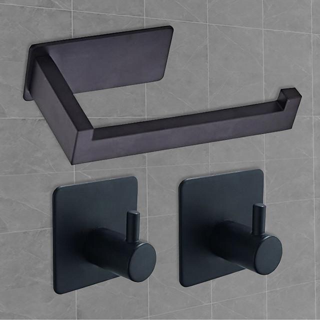 Ensemble d'accessoires de salle de bain auto-adhésifs de 3 m en acier inoxydable avec porte-mouchoirs et 2 crochets pour peignoir noir mat argent brossé