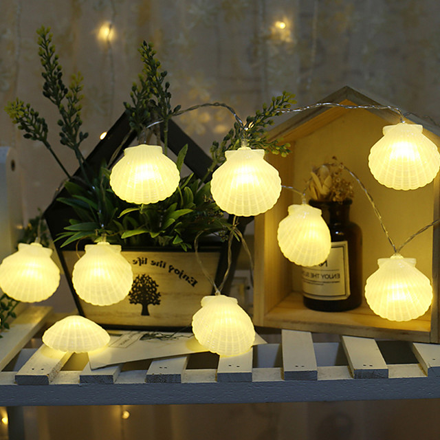 3 m 20 leds 1.5 m 10 leds led shell lichtslingers kamer kerstboom party bbq bruiloft vakantie decoratie foto diy props batterij verlichting levering zonder batterijen