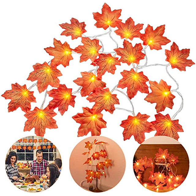 6pcs 4pcs led maple φύλλα string string 3m 20 led maples fairy garland string light for outdoor home Thanksgiving φθινοπωρινές διακοσμήσεις πάρτι