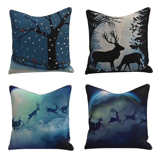 مجموعة من 4 غطاء وسادة من الكتان تصميم خاص للرسوم المتحركة التقليدية لعيد الميلاد ورمي الأيائل وسادة ندفة الثلج 45 * 45 سم