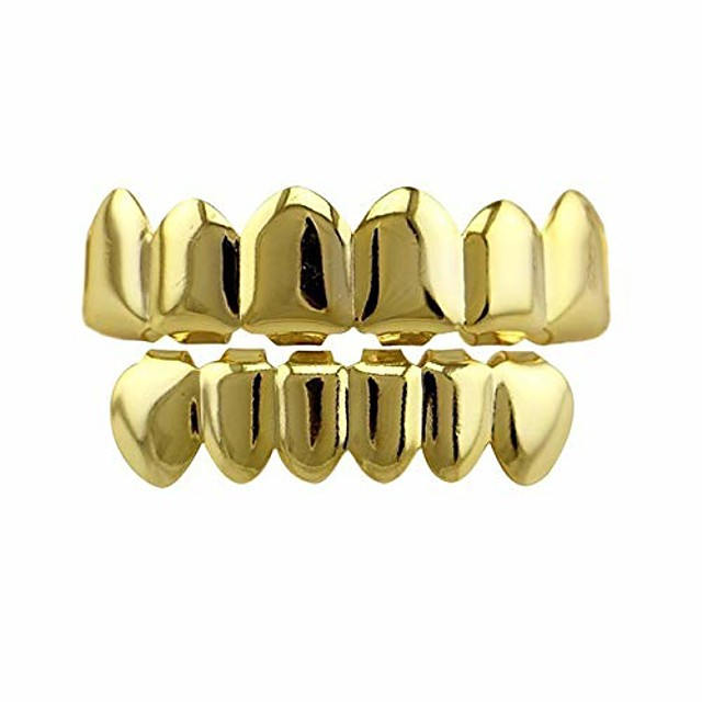 Plaqué or 24 carats hip hop punk fit sur mesure dents grillz caps top& gril inférieur amovible (or)