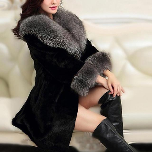 여성용 솔리드 베이직 가을 겨울 숄 라펠 모피 코트 보통 일상 긴 소매 폴리에스테르 코트 탑스 블랙